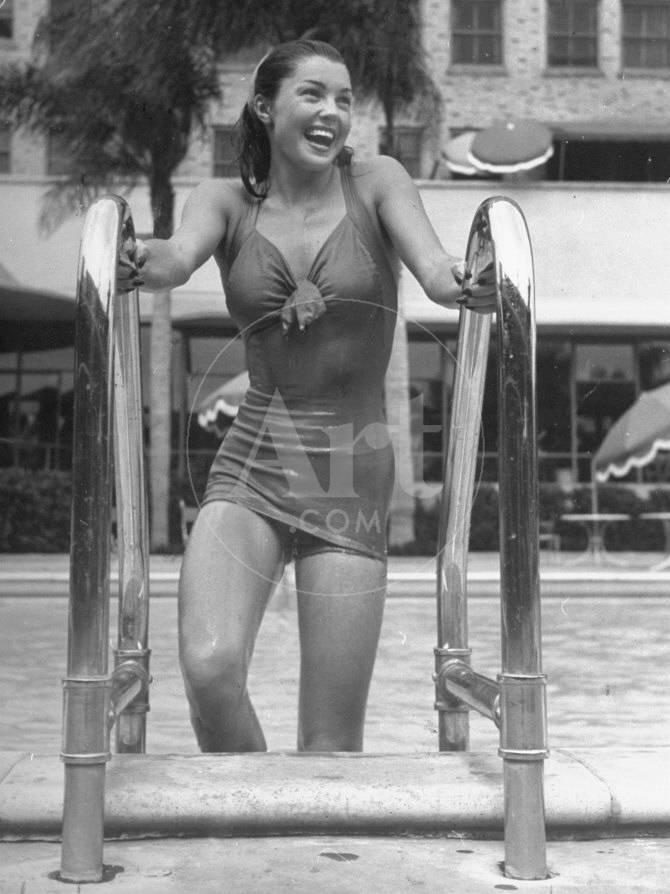 Esther Williams Getting Out of Swimming Pool