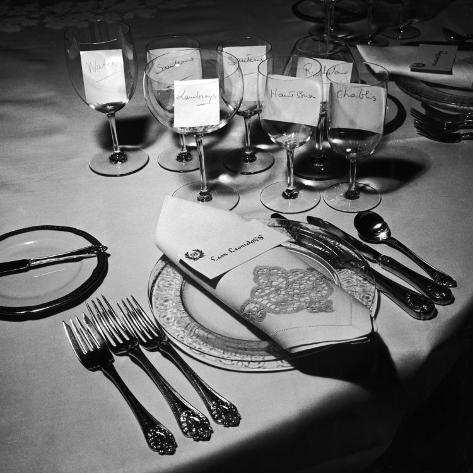 Forks, Knives, Spoons, Wine Glasses and Invitations, Table Settings for Gourmet Dinner Party Photographic Print