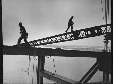 Steel Workers Above the Delaware River During Construction of the Delaware Memorial Bridge Photographic Print