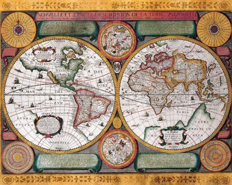 Antique Map, Terre Universelle, 1594 Stretched Canvas Print