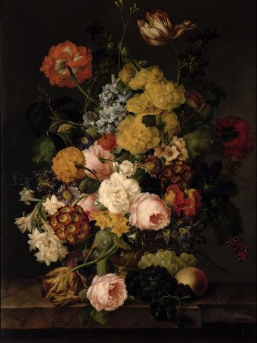 Still Life - Roses, Tulips and Other Flowers Lámina giclée