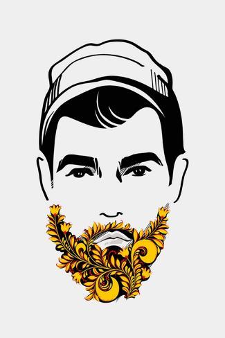 Beard and Mustache Man. Traditional Russian Style Art Print