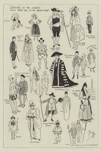 Sketches at the Juvenile Fancy Dress Ball at the Mansion House Giclee Print