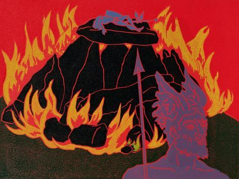 Flames Rise, Wotan Sadly Leaves His Beloved Daughter: Illustration for 'Die Walkure' Giclee Print
