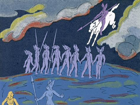 Wotan Arrives in Pursuit, Brunnhilde Sends Sieglinde to Safety: Illustration for 'Die Walkure' Giclee Print