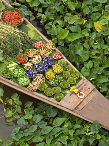 Detail of Boat in Water Lilies, Floating Market, Bangkok, Thailand Photographic Print