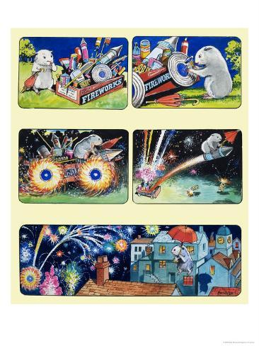 Gulliver Guinea-Pig and Fireworks Giclee Print