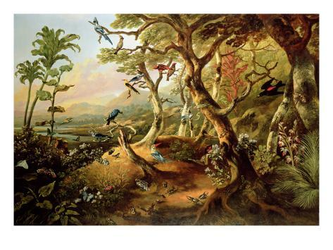 Exotic Birds and Insects Among Trees and Foliage in a Mountainous River Landscape Giclee Print