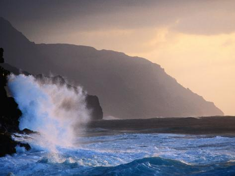 Surf Pounding Against Na Pali Coastal Cliffs at Dawn, United States of America Photographic Print