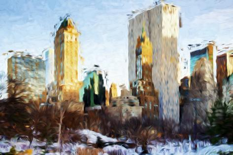 Central Park Buildings - In the Style of Oil Painting Impressão giclée