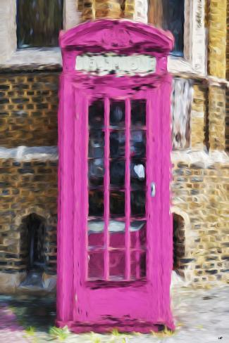 Dark Pink Phone Booth - In the Style of Oil Painting Stampa giclée