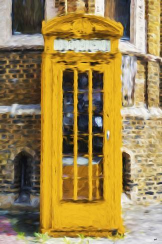 Dark Yellow Phone Booth - In the Style of Oil Painting Stampa giclée