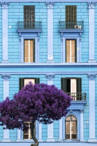 Dolce Vita Rome Collection - Blue Building Facade II Photographic Print