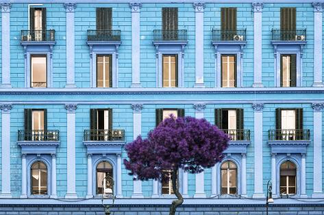 Dolce Vita Rome Collection - Blue Building Facade Photographic Print