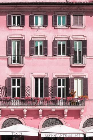 Dolce Vita Rome Collection - Building Facade Pink II Photographic Print