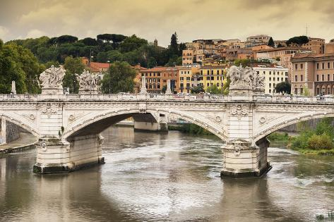 Dolce Vita Rome Collection - City of Bridge at Sunset Photographic Print