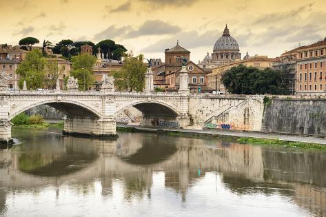 Dolce Vita Rome Collection - City of Bridges at Sunset Photographic Print