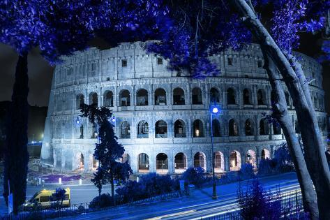 Dolce Vita Rome Collection - Colosseum at Blue Night Photographic Print