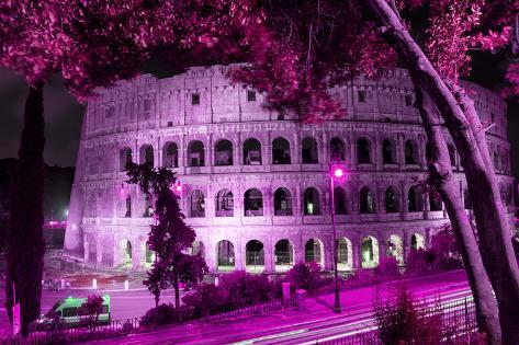 Dolce Vita Rome Collection - Colosseum at Pink Night Photographic Print