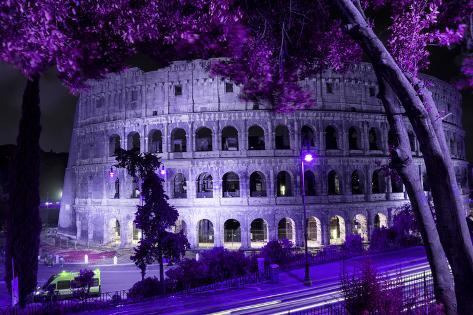 Dolce Vita Rome Collection - Colosseum at Purple Night Photographic Print