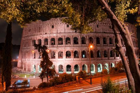 Dolce Vita Rome Collection - Colosseum at Red Night Photographic Print