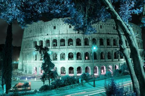 Dolce Vita Rome Collection - Colosseum at Turquoise Night Photographic Print