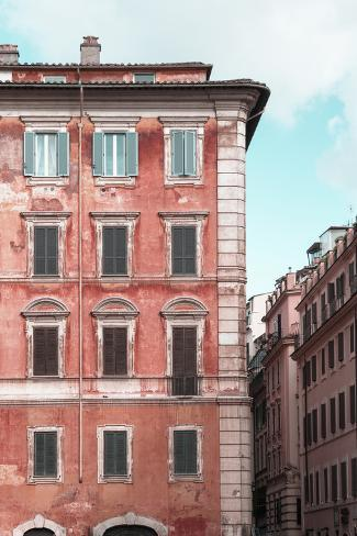Dolce Vita Rome Collection - Coral Buildings Facade II Photographic Print