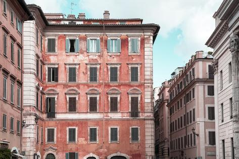 Dolce Vita Rome Collection - Coral Buildings Facade Photographic Print