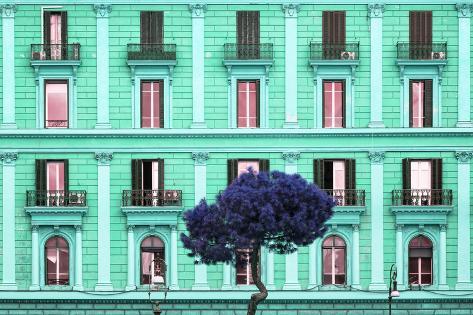 Dolce Vita Rome Collection - Coral Green Building Facade Photographic Print