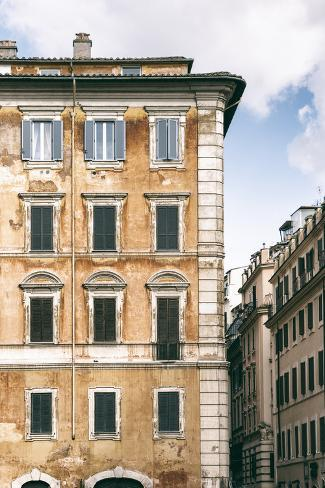 Dolce Vita Rome Collection - Dark Yellow Buildings Facade II Photographic Print