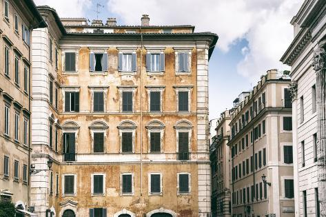 Dolce Vita Rome Collection - Dark Yellow Buildings Facade Photographic Print