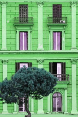 Dolce Vita Rome Collection - Green Building Facade II Photographic Print