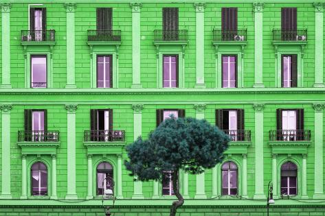 Dolce Vita Rome Collection - Green Building Facade Photographic Print