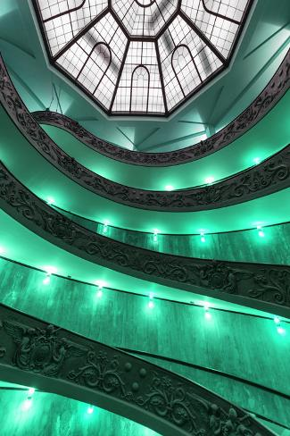Dolce Vita Rome Collection - Green Vatican Staircase Photographic Print