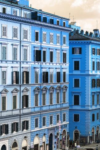 Dolce Vita Rome Collection - Italian Blue Facade Photographic Print