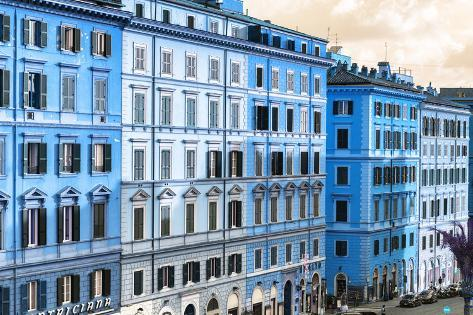 Dolce Vita Rome Collection - Italian Blue Facades Photographic Print