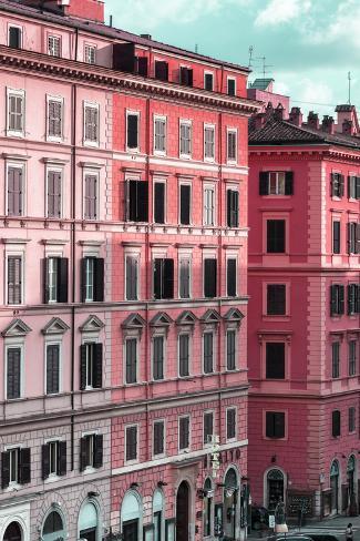 Dolce Vita Rome Collection - Italian Dark Pink Facade Photographic Print