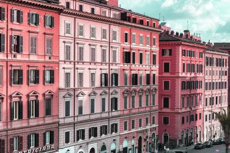 Dolce Vita Rome Collection - Italian Dark Pink Facades Photographic Print