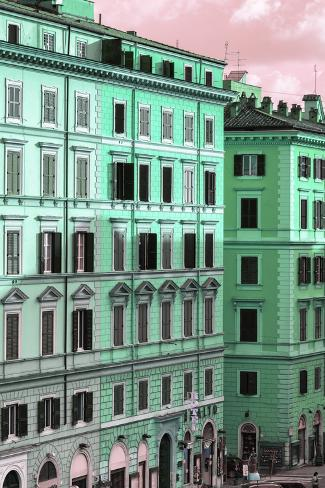 Dolce Vita Rome Collection - Italian Green Facade Photographic Print