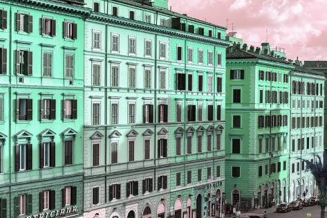 Dolce Vita Rome Collection - Italian Green Facades Photographic Print