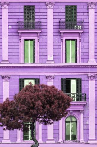 Dolce Vita Rome Collection - Mauve Building Facade II Photographic Print