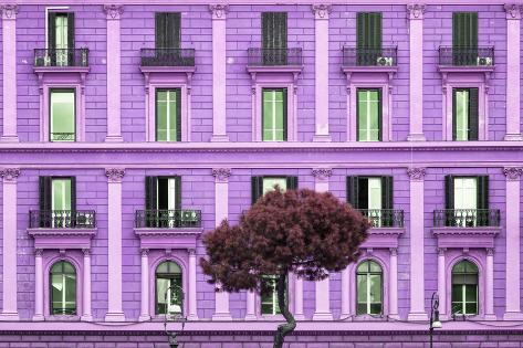 Dolce Vita Rome Collection - Mauve Building Facade Photographic Print