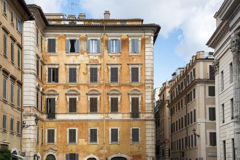 Dolce Vita Rome Collection - Orange Buildings Facade Photographic Print