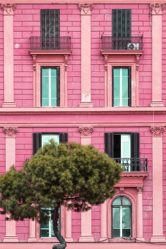 Dolce Vita Rome Collection - Pink Building Facade II Photographic Print