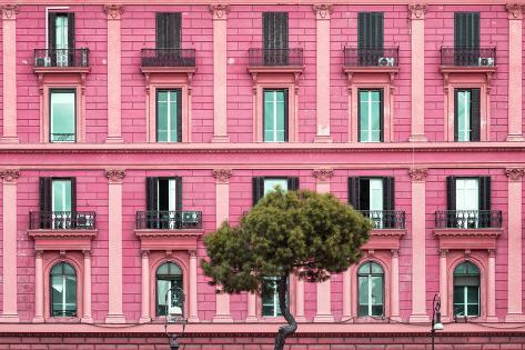 Dolce Vita Rome Collection - Pink Building Facade Photographic Print