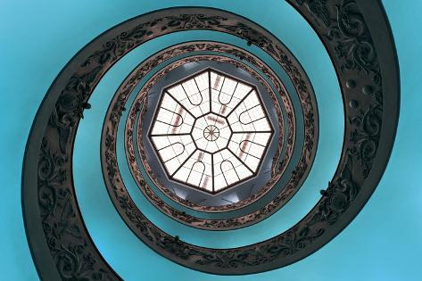 Dolce Vita Rome Collection - The Vatican Spiral Staircase Turquoise Photographic Print