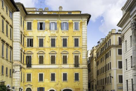 Dolce Vita Rome Collection - Yellow Buildings Facade Photographic Print