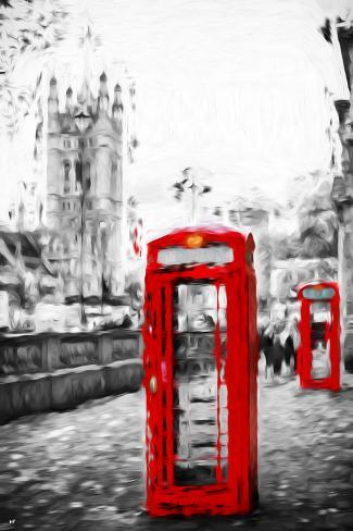 Dual Phone Booths - In the Style of Oil Painting Giclee Print