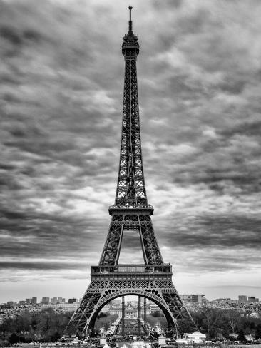 Eiffel tower paris france black and white photography