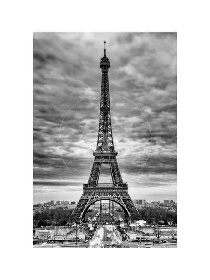 Eiffel Tower Paris France White Frame And Full Format Black And White Photography Photographic Print Philippe Hugonnard Allposters Com